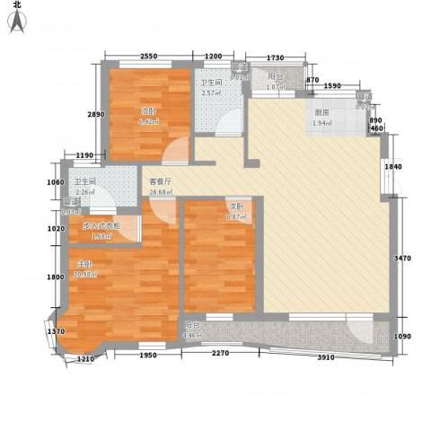 海富经典3室1厅2卫0厨90.00㎡户型图