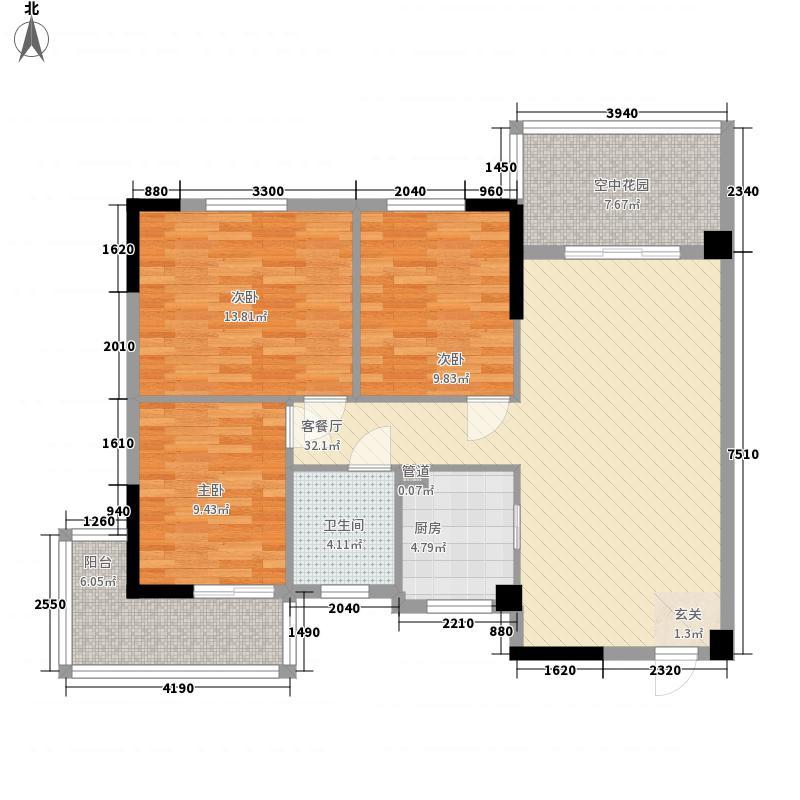 畔山御景106.41㎡畔山御景户型图6-7-8号楼E户型3室2厅1卫1厨户型3室2厅1卫1厨