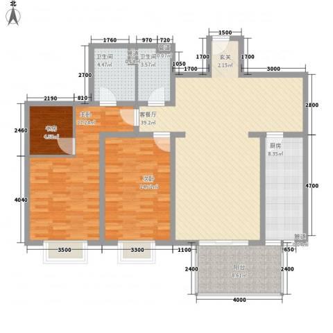 未来世界花园二期3室1厅2卫1厨144.00㎡户型图