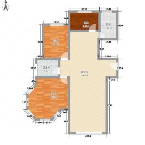 大院三期宽庭3室1厅1卫1厨123.00㎡户型图