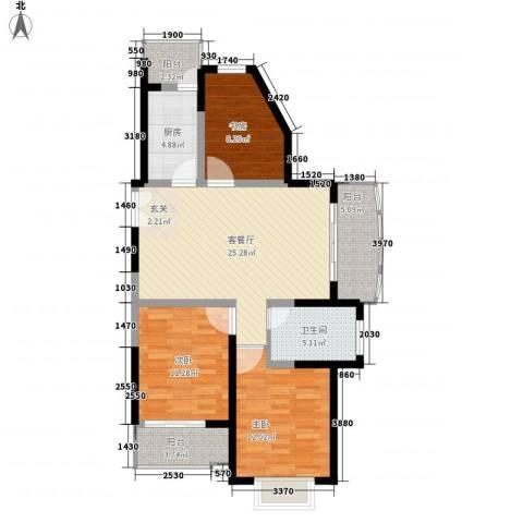 大华水韵华庭3室1厅1卫1厨112.00㎡户型图