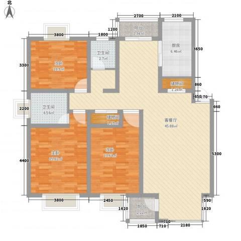 顺驰滨江奥城3室1厅2卫1厨132.00㎡户型图
