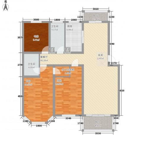 太湖惠泉花园二期3室1厅2卫1厨159.00㎡户型图