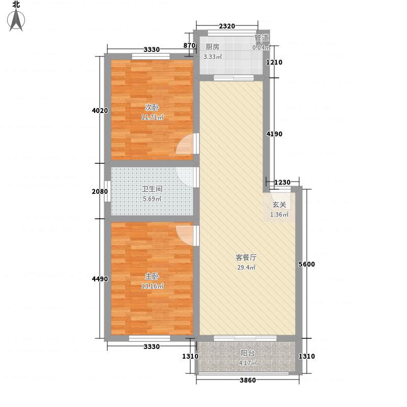 朝阳佳苑8.78㎡E户型2室2厅1卫1厨