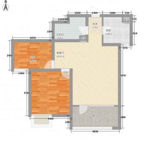 亿科公元20102室1厅1卫1厨84.00㎡户型图