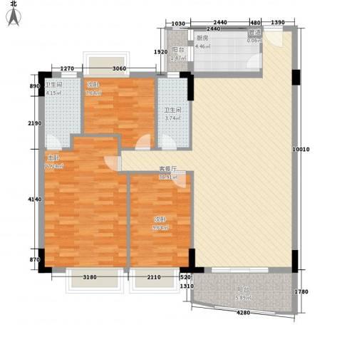 中南海晖园3室1厅2卫1厨128.00㎡户型图