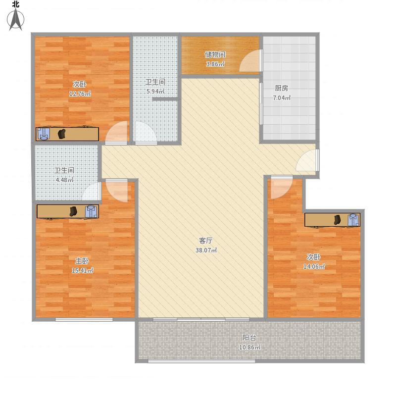 博雅馨苑8东单元11楼西户中央空调布置图