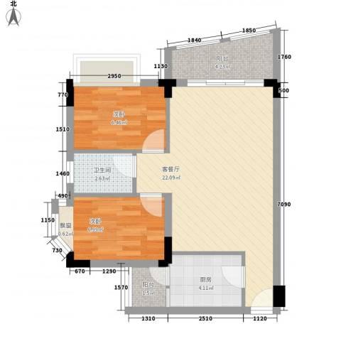 中南海晖园2室1厅1卫1厨69.00㎡户型图