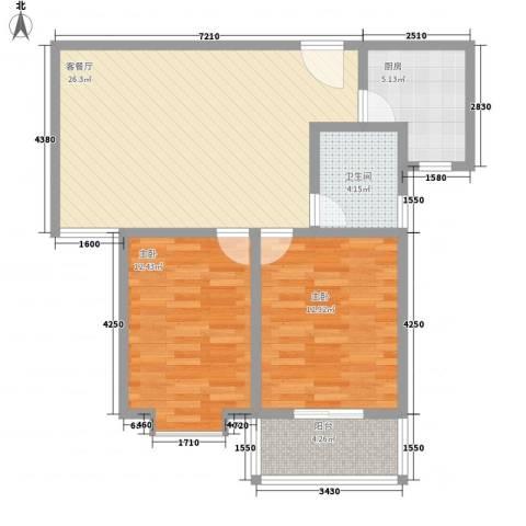广星源2室1厅1卫1厨65.19㎡户型图