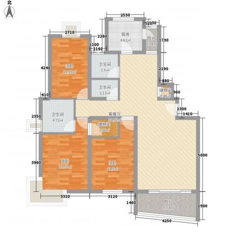 洪翔园3室1厅3卫1厨134.00㎡户型图