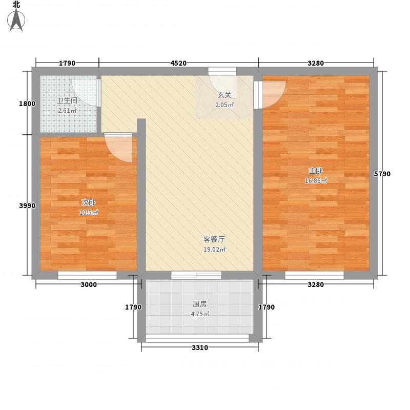 朝阳佳苑72.77㎡B户型2室1厅1卫1厨