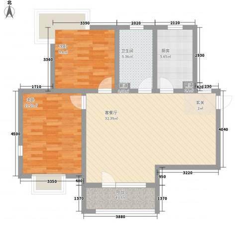 亿科公元20102室1厅1卫1厨98.00㎡户型图
