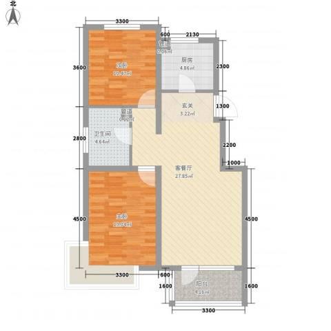 戴河水岸星城2室1厅1卫1厨93.00㎡户型图