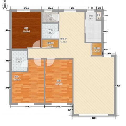御泉华庭3室1厅2卫1厨137.00㎡户型图