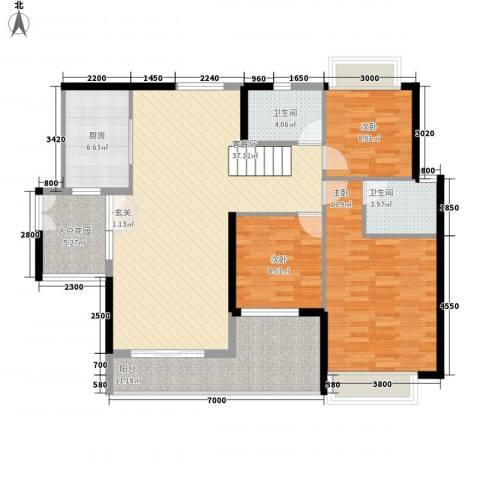 金宇名都3室1厅2卫1厨132.00㎡户型图
