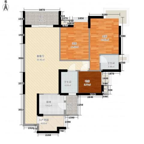 湖滨壹号3室1厅2卫1厨127.00㎡户型图