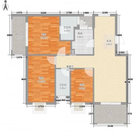 银江花园3室1厅2卫1厨112.00㎡户型图