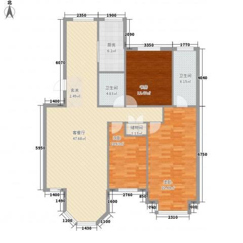 新星壹品3室1厅2卫1厨134.00㎡户型图