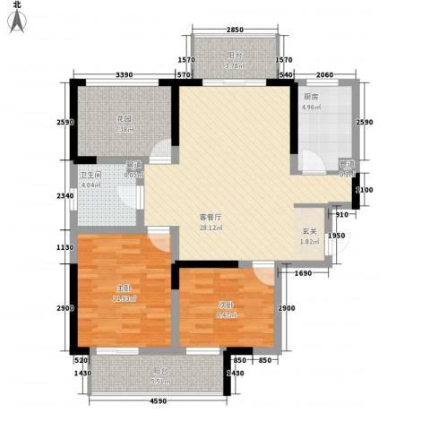 常发香城湾2室1厅1卫1厨86.00㎡户型图