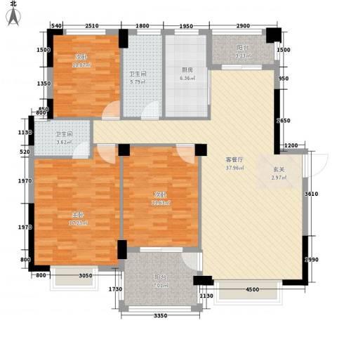 凤凰花园城3室1厅2卫1厨147.00㎡户型图