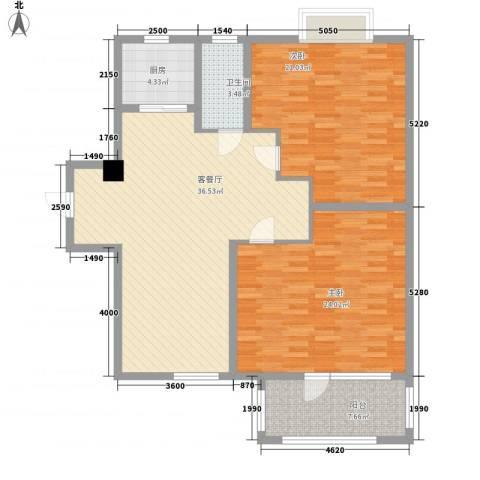 荣盛香缇澜山二期2室1厅1卫1厨136.00㎡户型图