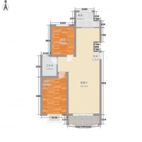 富贵佳园2室1厅1卫1厨100.00㎡户型图
