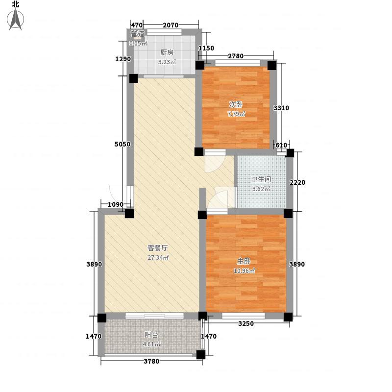 姑孰新城83.88㎡一期1号楼10户型2室2厅1卫1厨