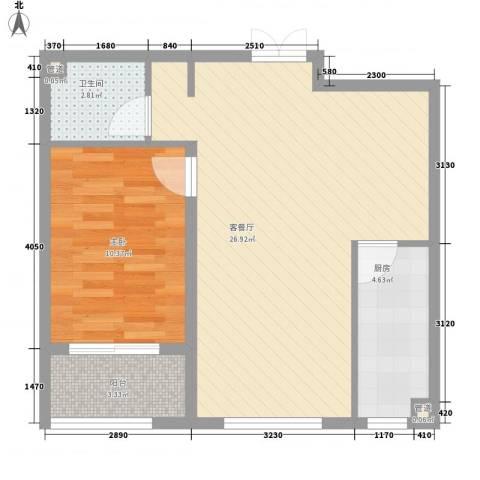 馨园丽景1室1厅1卫1厨66.00㎡户型图