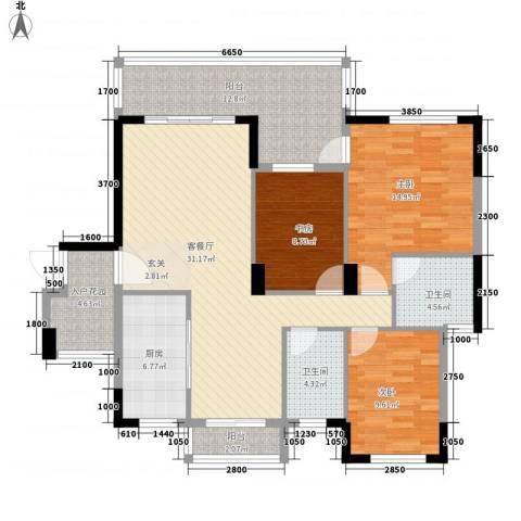 凤凰花园城3室1厅2卫1厨142.00㎡户型图