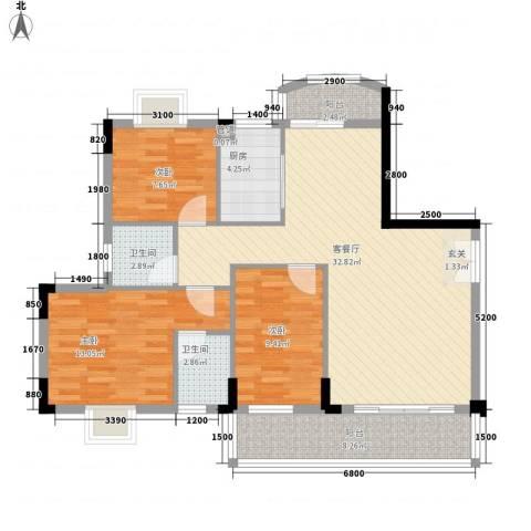 惠麓苑3室1厅2卫1厨129.00㎡户型图