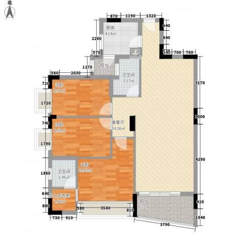中南海晖园3室1厅2卫1厨114.00㎡户型图