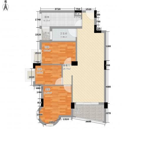 中南海晖园3室1厅1卫1厨103.00㎡户型图