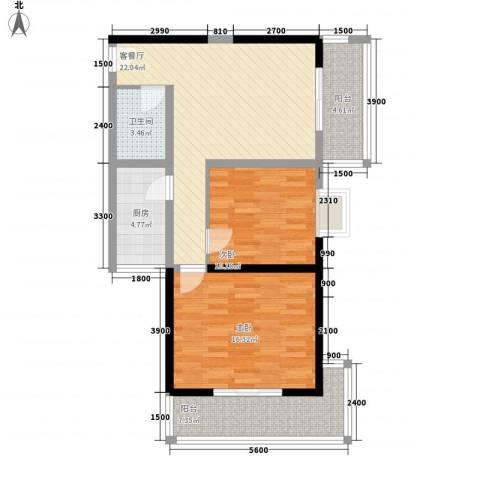 百花御景名都2室1厅1卫1厨94.00㎡户型图