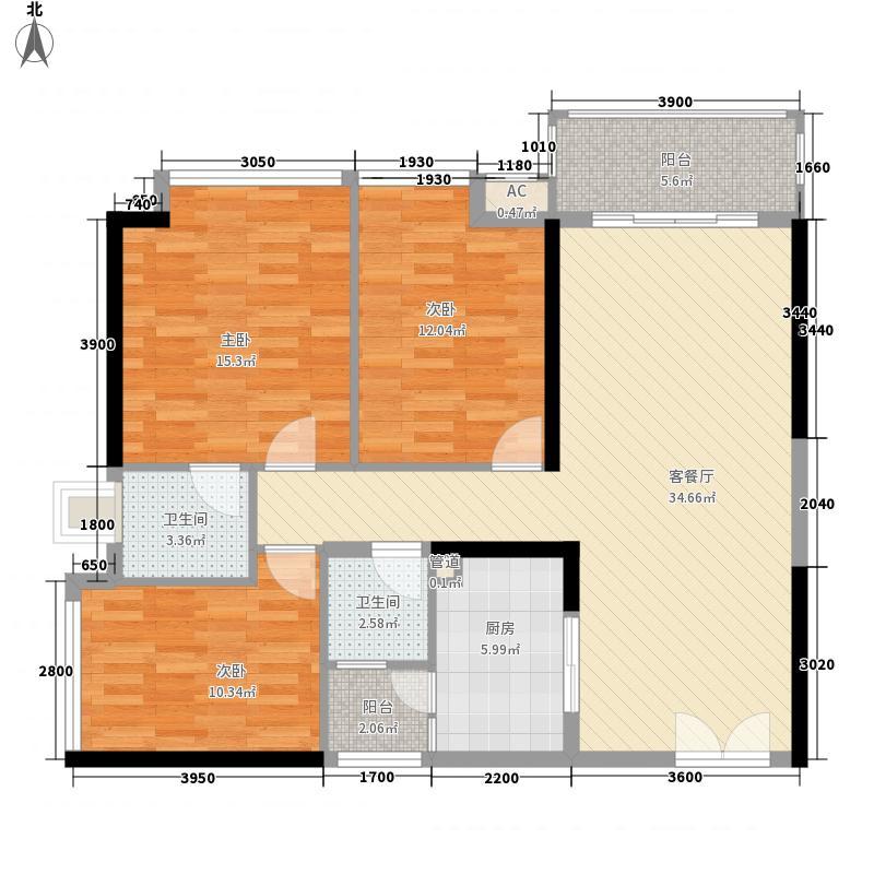 百仕达乐湖116.00㎡百仕达乐湖户型图3-B户型3室2厅2卫户型3室2厅2卫