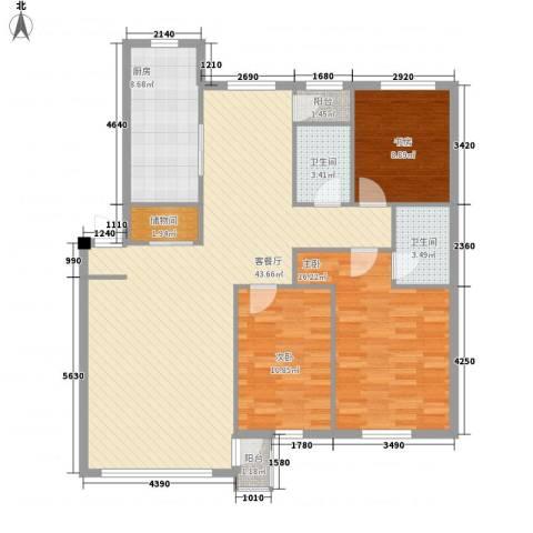 御泉华庭3室1厅2卫1厨138.00㎡户型图