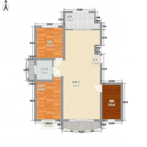 富贵佳园3室1厅1卫1厨76.81㎡户型图