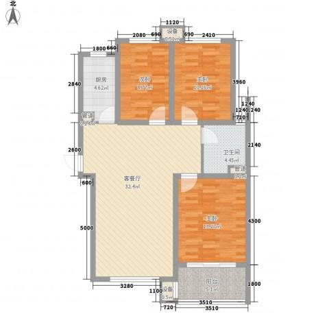 佰瑞廷3室1厅1卫1厨116.00㎡户型图