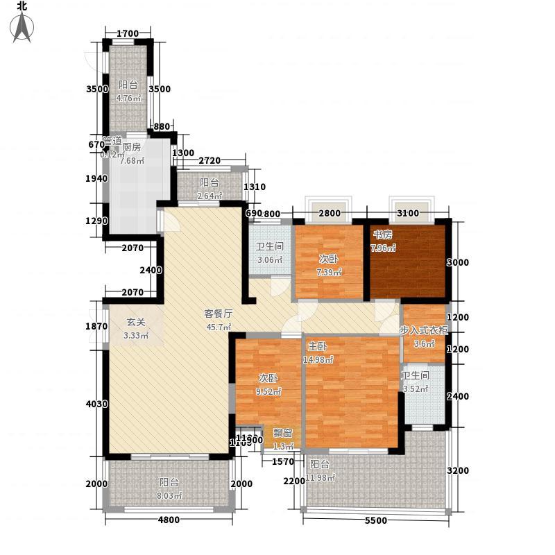 凯旋名门户型图C户型 4室2厅2卫1厨
