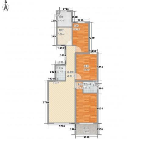 馨园丽景3室2厅2卫1厨71.90㎡户型图