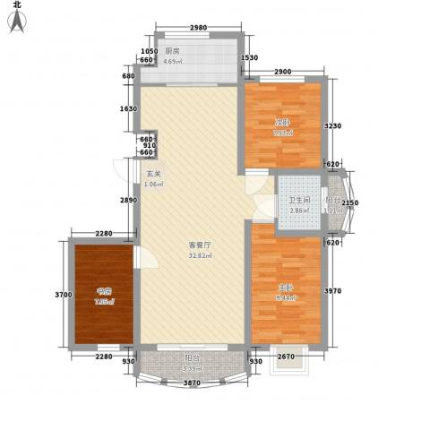 富贵佳园3室1厅1卫1厨69.28㎡户型图