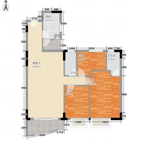 中南海晖园3室1厅2卫1厨119.00㎡户型图