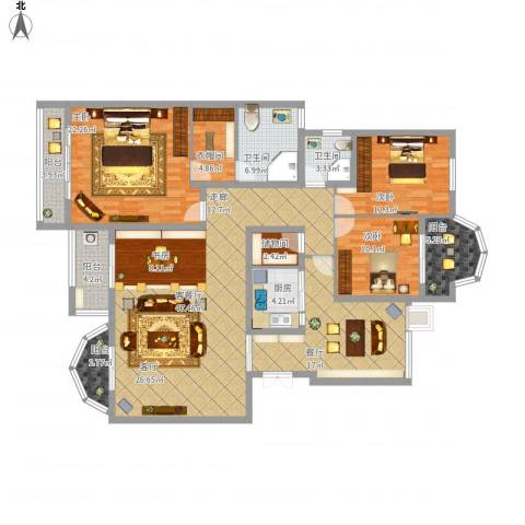 龙湖弗莱明戈3室2厅2卫1厨210.00㎡户型图