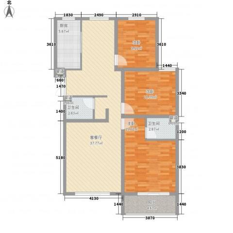 馨园丽景3室1厅2卫1厨119.00㎡户型图