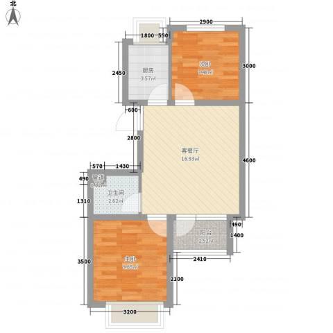 戴河水岸星城2室1厅1卫1厨75.00㎡户型图