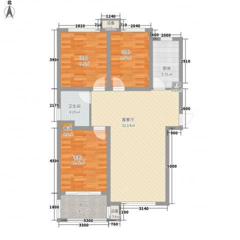 佰瑞廷3室1厅1卫1厨118.00㎡户型图