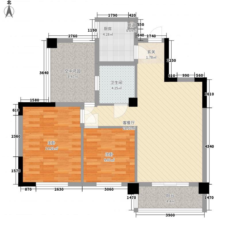 畔山御景89.38㎡畔山御景户型图6-7-8号楼F户型2室2厅1卫1厨户型2室2厅1卫1厨