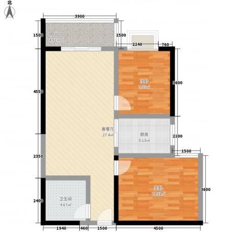 百花御景名都2室1厅1卫1厨90.00㎡户型图