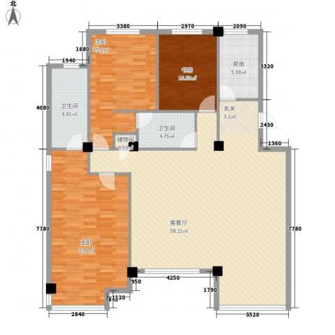 新星壹品3室1厅2卫1厨152.00㎡户型图