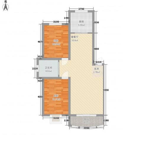 富贵佳园2室1厅1卫1厨71.35㎡户型图