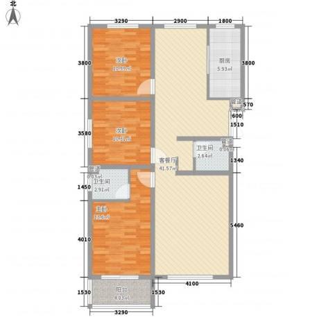 馨园丽景3室1厅2卫1厨124.00㎡户型图